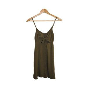 Topshop Army Green Mini Dress with Front Tie